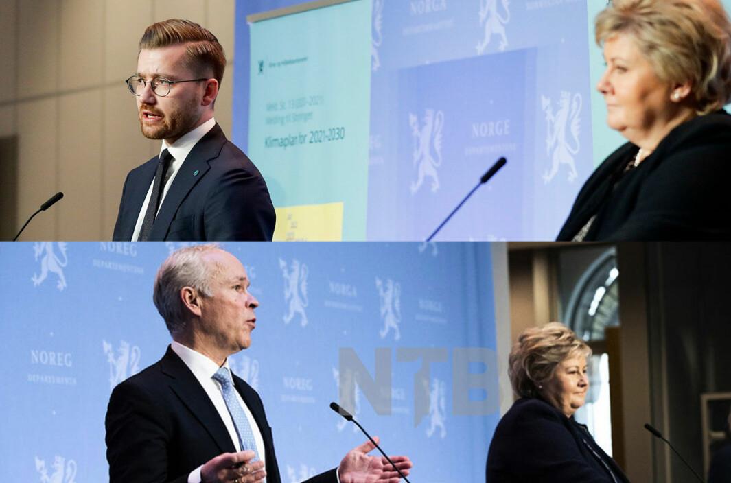 90 HER OG 100 DER: Klima- og miljøminister Sveinung Rotevatn og Erna Solberg øverst, finansminister Jan Tore Sanner med regjeringssjefen nederst.