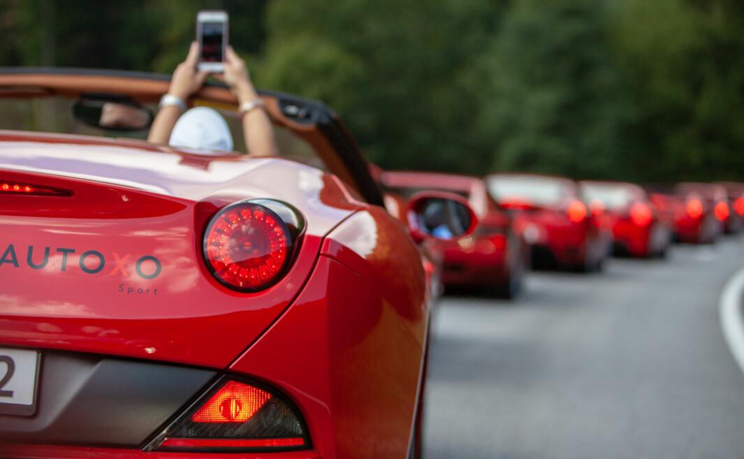 """<span class=""""font-weight-bold"""" data-lab-font_weight_desktop=""""font-weight-bold"""">LANG, LANG REKKE: </span>Ferrari Owners Club Norway sørger for å kjøre kortesje med røde biler når de er på tur. De andre lakkfargene følger hakk i hæl."""