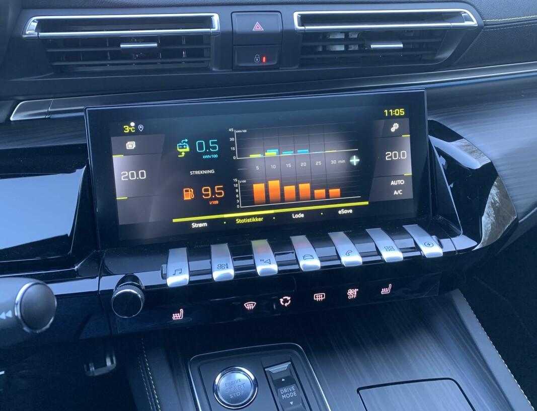 """<span class="""" font-weight-bold"""" data-lab-font_weight_desktop=""""font-weight-bold"""">LEKKERT - OG BRUKERVENNLIG: </span>Førermiljøet i Peugeots nyeste modeller er blant våre favoritter - og når et nytt nivå i 508 PSE. Legg merke til de elegante tangentene nedenfor skjermen."""