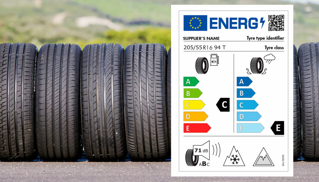QR-KODE: Alle nye dekk skal fra 2021 ha produkt-info i et fast design etter EU-mal, med en QR-kode du kan scanne for mer informasjon.