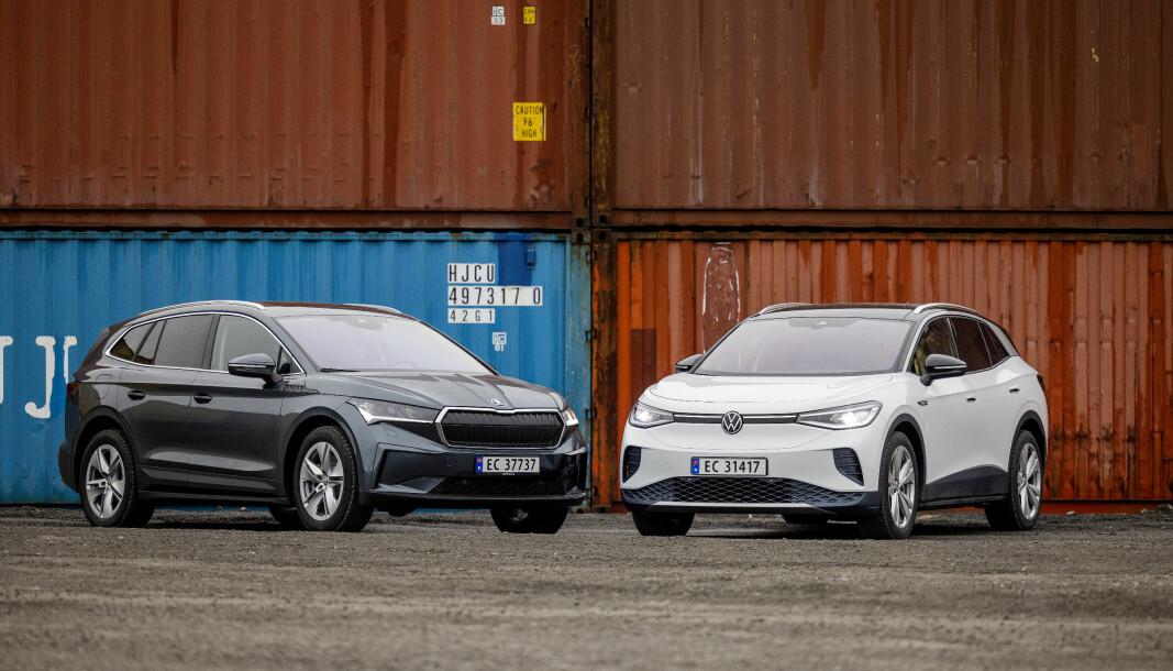 TVILLINGER: Skoda Enyaq (t.v.) og VW ID.4 er like i mye, men også overraskende forskjellige.