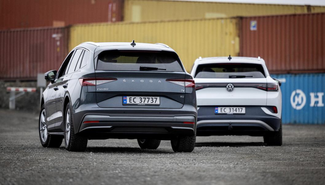 """<span class="""" font-weight-bold"""" data-lab-font_weight_desktop=""""font-weight-bold"""">SPARK BAK:</span> Skoda Enyaq og VW ID.4 leverer i tetsjiktet innenfor de fleste kategorier blant dagens elbiler, men deler av førerstøtteteknologien holder ikke mål."""
