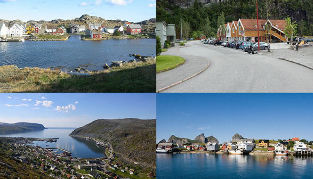 0 TIL 100: Øykommunene Utsira (øverst venstre) og Træna (nederst venstre) har 100 prosent elbilandel, mens Lebesby (med Kjøllefjord nede til venstre) og Modalen har 100 prosent andel med bensin eller diesel.