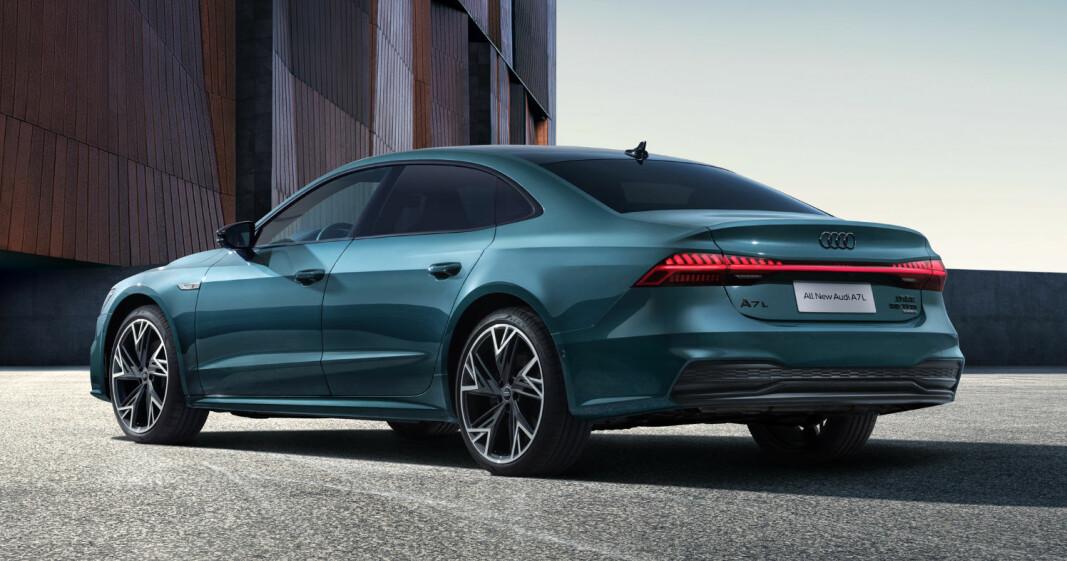 """<span class="""" font-weight-bold"""" data-lab-font_weight_desktop=""""font-weight-bold"""">KURIØS:</span> Audi A7L er en typisk Kina-spesifikk ekstra-lang modell for folk som har bil for å oppholde seg i baksetet - for oss, en kuriositet."""