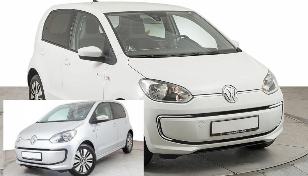 IKKE SÅ LIKE: Disse to VW e-Up!-modellene ser kanskje like ut, men er det ikke.