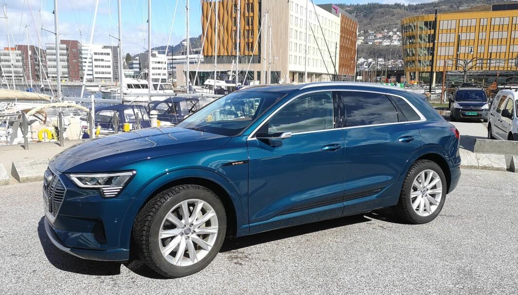 AUDA, AUDI: Denne 2020-modellen Audi e-tron har en skiltleser som fungerer svært dårlig i Bergen og omegn.