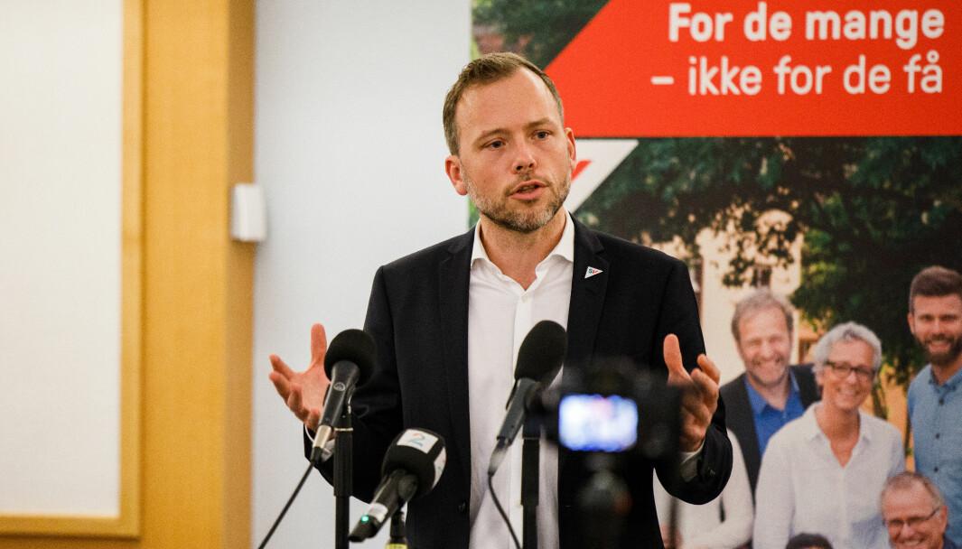 PLUSS MOMS: SV-leder Audun Lysbakken under fremleggelsen av SVs alternative statsbudsjett sist høst.