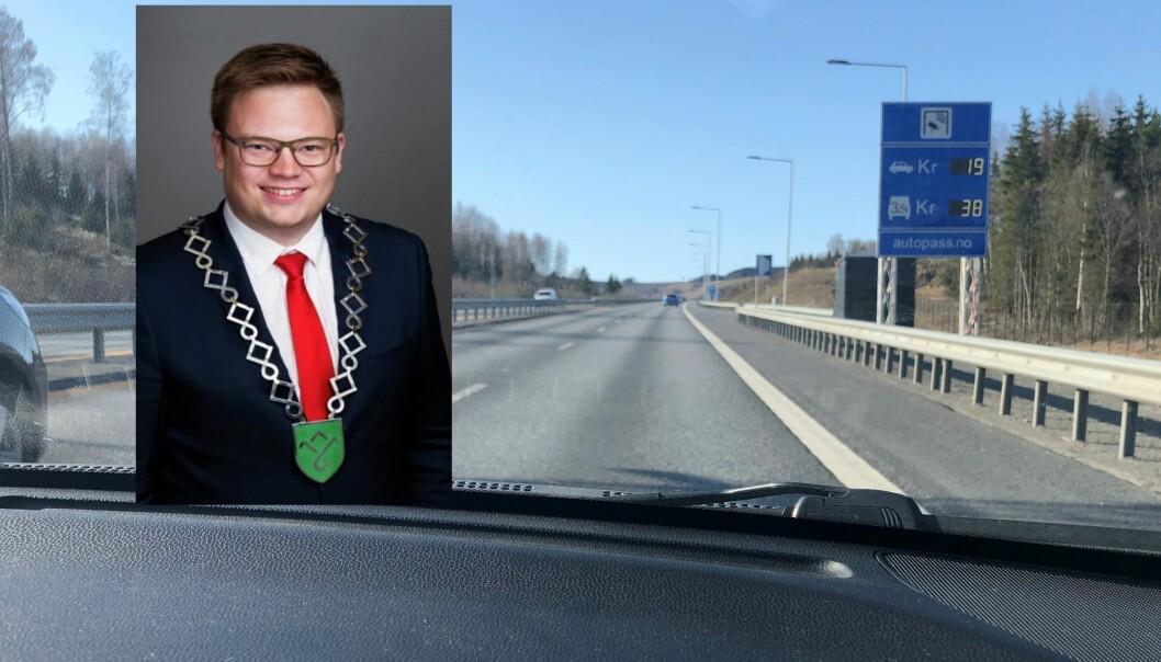 KREVER BETALING: Fylkesordfører Even Aleksander Hagen mener elbilistene skal betale blant annet her, på nye E6 ved Hamar.
