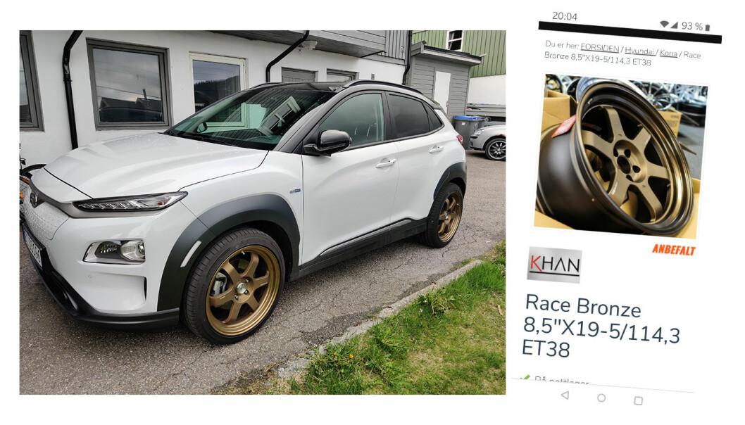 """<span class=""""font-weight-bold"""" data-lab-font_weight_desktop=""""font-weight-bold"""">GULLSTØVLER: </span>Morten Steensen visste at han hadde funnet gull da han fikk fatt i disse felgene til sin Hyundai Kona."""