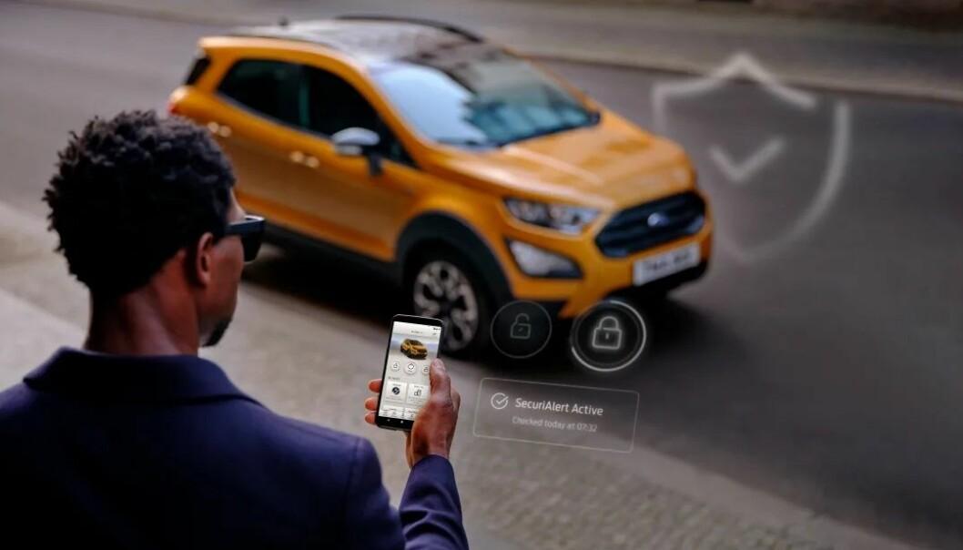 BESKYTTET: Fords nye app skal varsle føreren om noen forsøker å bryte seg inn i eller åpne bilen ulovlig.