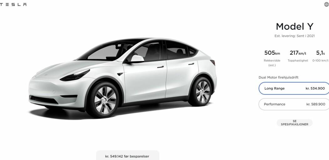 "<span class="" font-weight-bold"" data-lab-font_weight_desktop=""font-weight-bold"">FØR 2022?</span> Slik ser det ut på bestillingssiden for Tesla Model Y idet denne saken publiseres."
