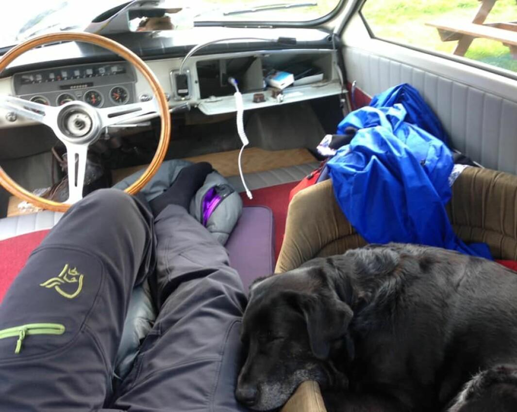"<span class=""font-weight-bold"" data-lab-font_weight_desktop=""font-weight-bold"">KOSEKROKEN: </span>Christian Hetland og og den nå avdøde hunden Coco omgjorde en urgammel Saab til sovesal for natten."