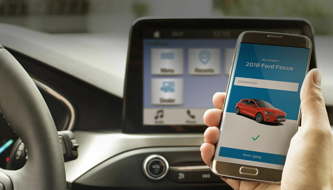 KAN SPORES: Med appen FordPass Connect kan biler fra Ford følges geografisk, startes og låses opp. Data som registreres, lagres hos Ford.