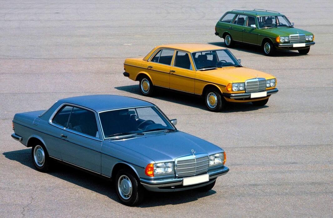 """<span class=""""font-weight-bold"""" data-lab-font_weight_desktop=""""font-weight-bold"""">STJERNEMODELLENE: </span>Mercedes bygget verdens mest bunnsolide åk i firedørs sedanutgave, Edelwagen (stasjonsvogn) og coupé (foran på bildet). Bare Volvo og Citroën hadde nær like laaang levetid."""