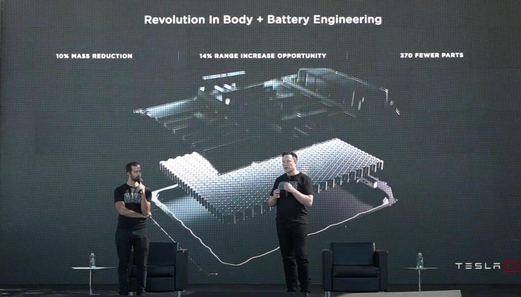 BATTERI/KAROSSERI-REVOLUSJON: Under Teslas berømmelige «batteri-dag» i 2020, viste Elon Musk sine ideer rundt strukturelle batterier.