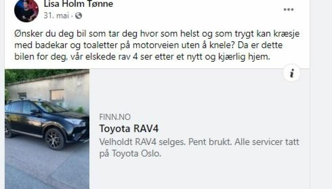 """<span class="""" font-weight-bold"""" data-lab-font_weight_desktop=""""font-weight-bold"""">ANNONSEN:</span> Lisa Tønne skrev dette om bilen sin på sin åpne Facebook-side."""