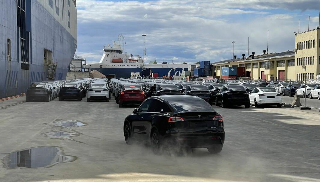 ET LASS MED BILER: Enda en Tesla Model Y svinges av båten og til oppstilling på Oslo havn.