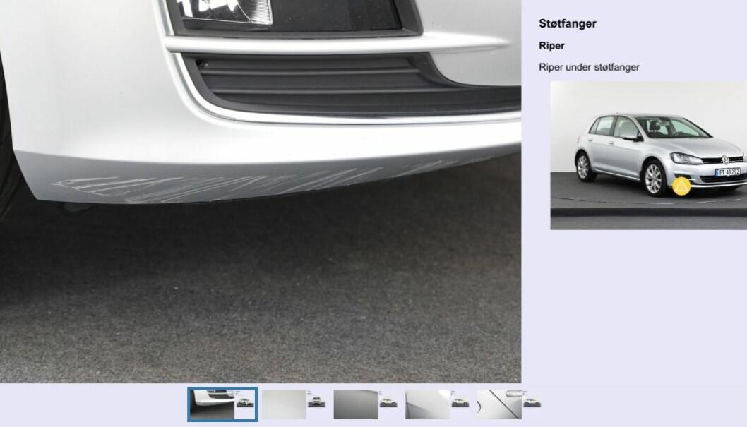 """<span class=""""font-weight-bold"""" data-lab-font_weight_desktop=""""font-weight-bold"""">VISER FEILENE:</span> Rebil tar nærbilder av alle feilene på bilene de selger, blant annet merker og skraper, og viser hvor på karosseriet merkene er."""