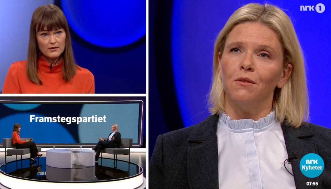 SANT NOK? Frp-leder Sylvi Listhaug under utspørring med Astrid Randen i NRK.