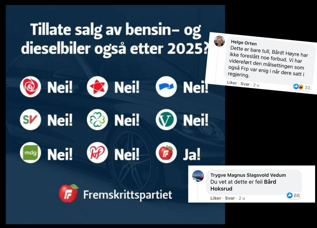 """<span class=""""font-weight-bold"""" data-lab-font_weight_desktop=""""font-weight-bold"""">NEI! NEI JA!:</span> Frps Facebook-post fikk klare svar (innfelt) fra både Helge Orten i Høyre og Trygve Slagsvold Vedum i Senterpartiet."""
