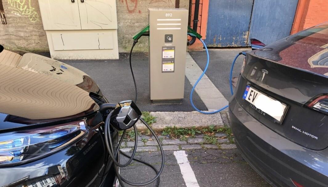 BILLIG: Her lader en Renault Zoe og en Tesla billig på Kampen i Oslo. For Renaulten er ladingen ekstra rimelig.