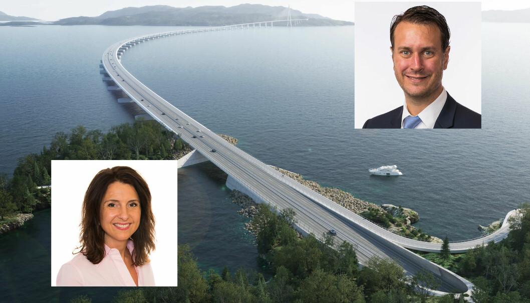 MILLIARD-URO: Jenny Klinge (Sp) og Helge Andre Njåstad (Frp) er urolige for hverandres omkamp om veiprosjekter på Vestlandet.