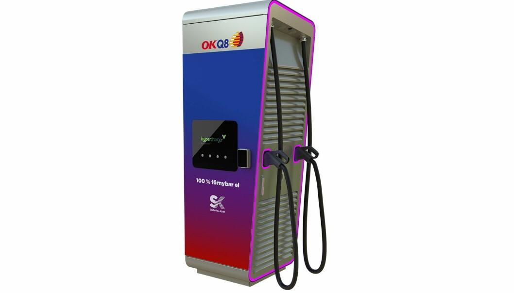 HURTIGLADER: Den nye hyperchargeren til OKQ8-kjeden får kortbetaling.