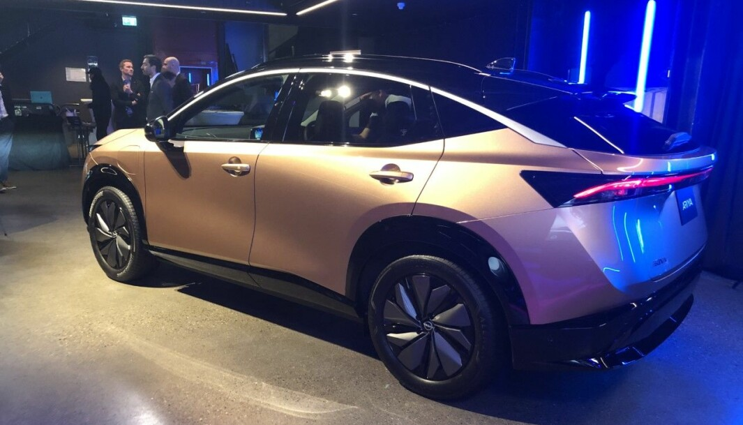 """<span class="""" font-weight-bold"""" data-lab-font_weight_desktop=""""font-weight-bold"""">DESIGN: </span>Nissan Ariya vil markere seg designmessig i en stadig mer populær klasse av elektriske familiebiler."""