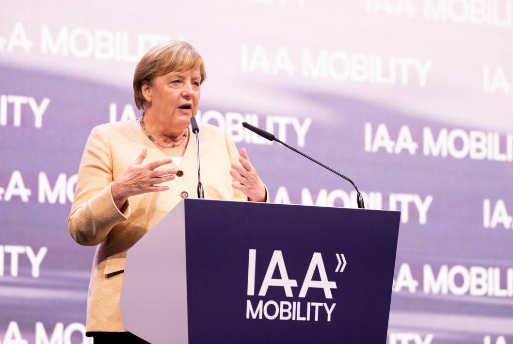KANSLERTALE: Forbundskansler Angela Merkel under åpningen av IAA tidligere i uken.