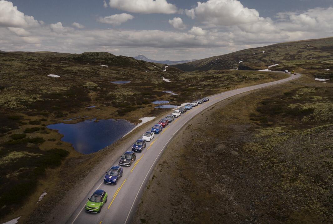NORGESMESTERNE: Elbilene dominerer nybilparken.Her er en kolonne av dem i NAF og Motors store elbiltest.