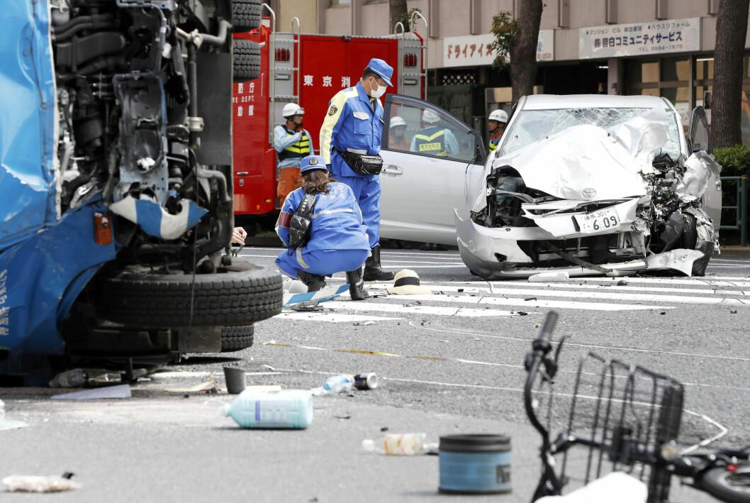ULYKKE: I høst ble en 90 år gammel japansk sjåfør dømt til fem års fengsel etter en dødelig bilulykke i en trafikkert gate i Tokyo, der en 3-åring og hennes mor ble drept. Saken vakte stor oppmerksomhet og førte til en intens debatt om at eldre bak rattet kan være et sikkerhetsproblem.